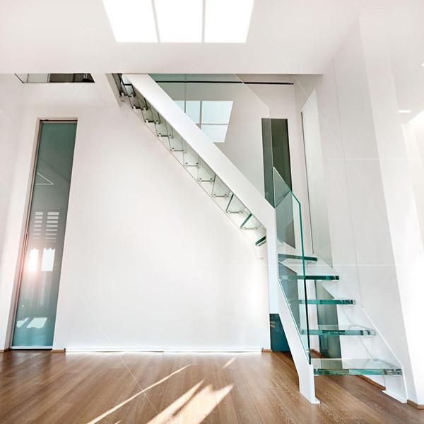 Space Saving Staircase Designs: Modern Villa Stair Design Space Saving Indoor Glass Loft