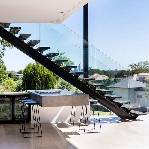 Outdoor Floating Stairs Florida Project: Outdoor Frameless Glass Railing Mono Stringer Steel Wood U
