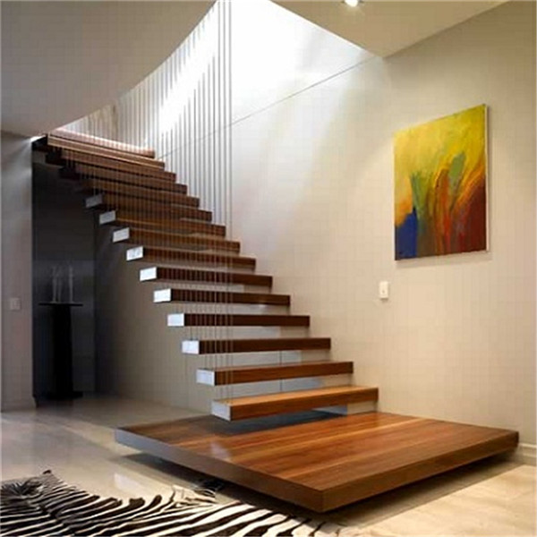 stylish wire railing wood floating staircase