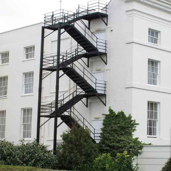 Outdoor Floating Stairs Florida Project: Industrail 4-storey Exterior Iron Steel U Shape Stair With
