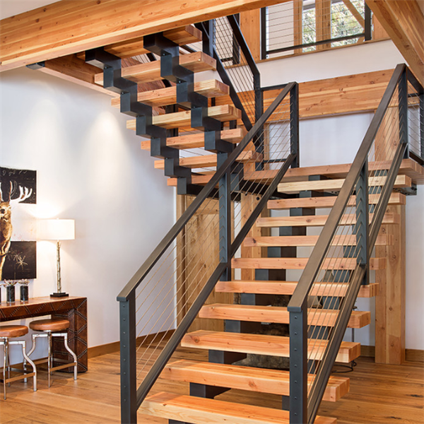 single stringer stairs U shaped staircase with wooden steps
