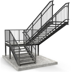 Steel Structural Staircase Handrail Outdoor Steel Stair