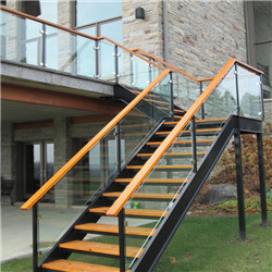 Prefabricated Outdoor Metal Stairs  With Glass Railing Design