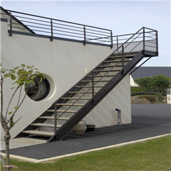 Metal Railings Stairs Outdoor Timber Straight Staircases Design