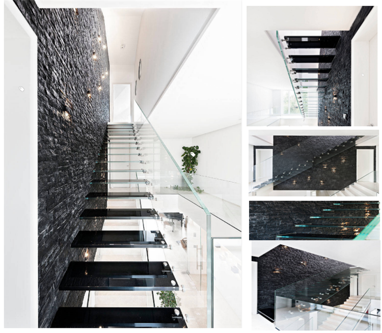 Floating Glass Tread Staircase With Glass Wall