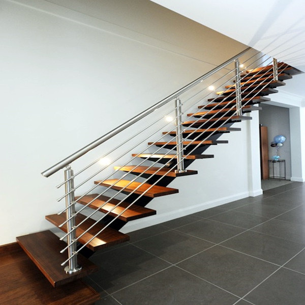 Modern Style Indoor Straight Staircase Design Stainless Steel Rod