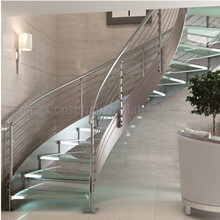 Apartment Curved Steel Glass Staircase Design PR-C06