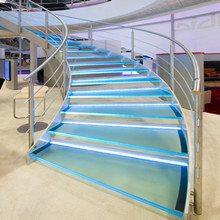 Stainless Steel 304 Railing Systems Design For LED Glass Steps Curved Staircase
