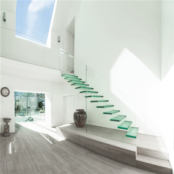 Outdoor Floating Stairs Florida Project: Glass Balustrade Railing Invisible Steel Stringer Floating