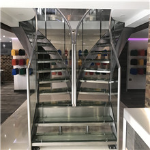 UK double way curved glass stair
