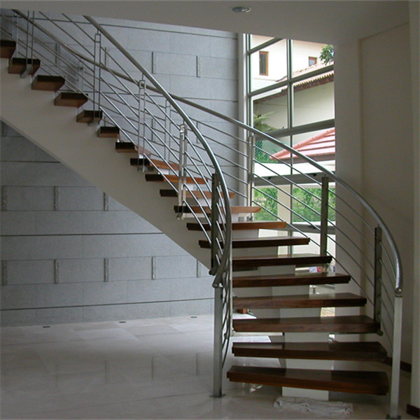 Acacia Wood Steps Curved Stair With Stainless Steel Railing Design