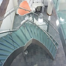 Interior Steel Glass Curved Staircase Design For Commerical Project