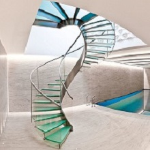 Double Stringers for Glass Steps Curved Staircase