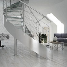 Apartment Stainless Steel Balustrade Laminated Glass Steps Curved Staircase