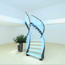 Luxurious Stainless Steel U channel Beam Stringer for Glass Steps Curved Staircase