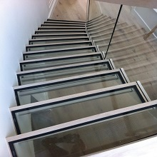 Carbon Steel Stringer Glass Curved Staircase for Commerical Project