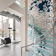 Stainless Steel Glass Curved Staircase PR-C19