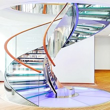 Frameless Steel Glass Balustrade Interior Curved Staircase PR-C12