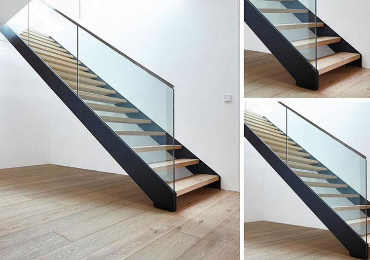High Quality Indoor Used Double Stringer Glass Railing Wood